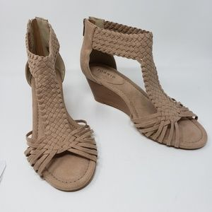 Torrid Nude Braided T-Strap Wide Wedge Sandals New